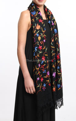 Black pink blue floral Hand Embroidered Pashmina pure wool base %100 silk thread