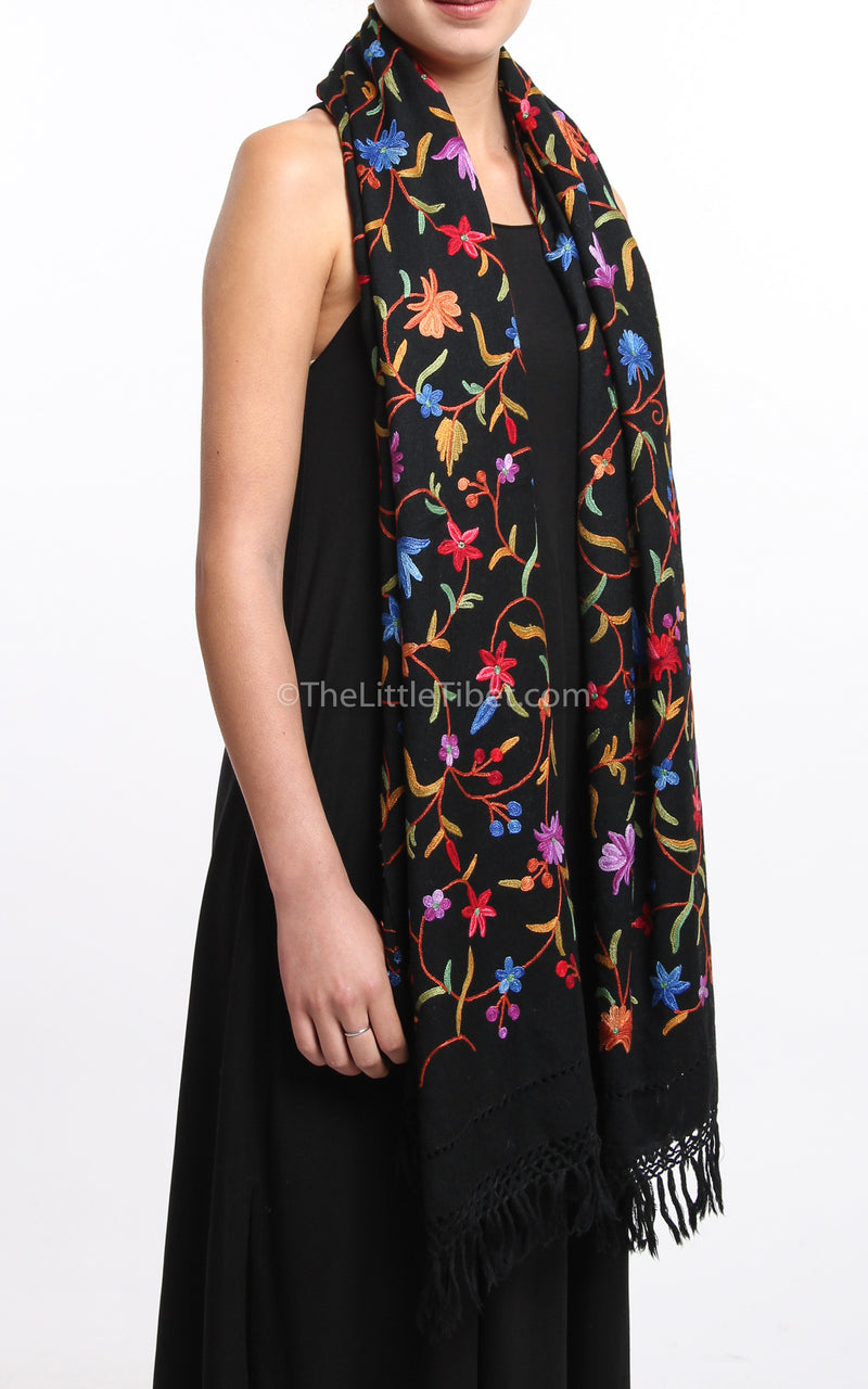Black Beauty Embroidered Wool Shawl - Black Beauty, The Little Tibet