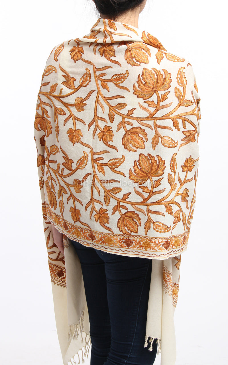 creamy white orange floral embroidery Woollen Kashmiri Shawl 100% pure wool close up