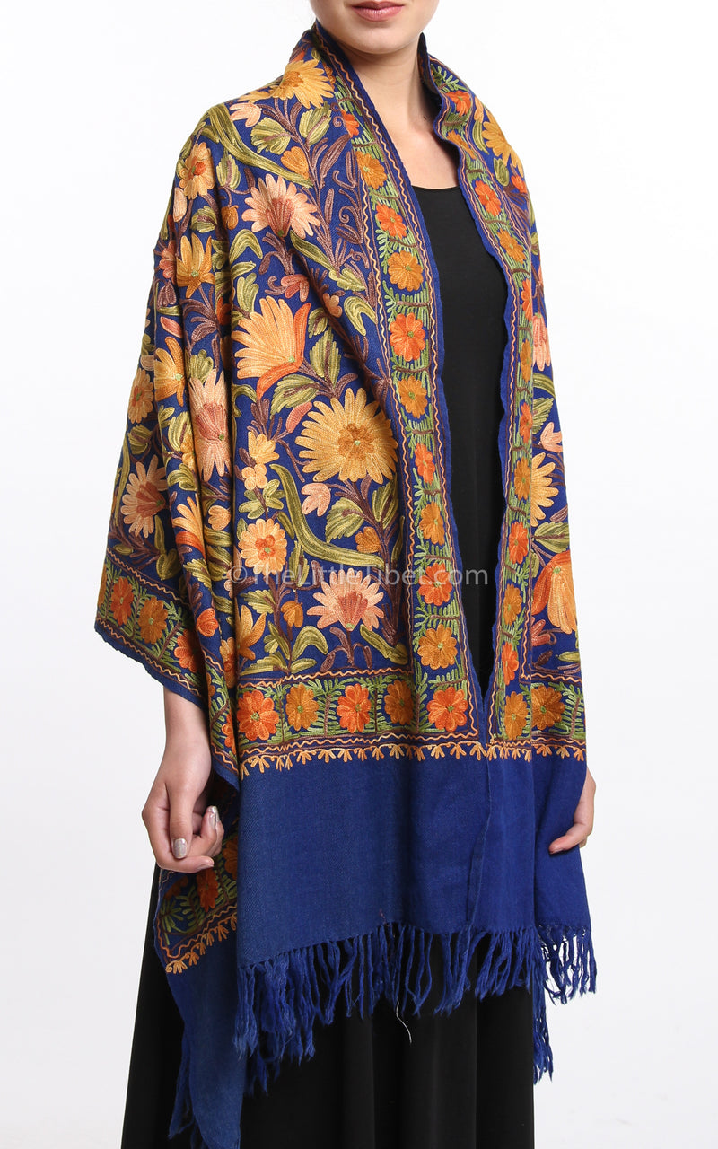 Floral embroided blue accents Woollen Kashmiri Shawl 100% pure wool draped around shoulders