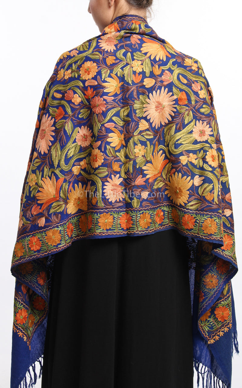 Floral embroided blue  accents Woollen Kashmiri Shawl 100% pure wool free uk shipping