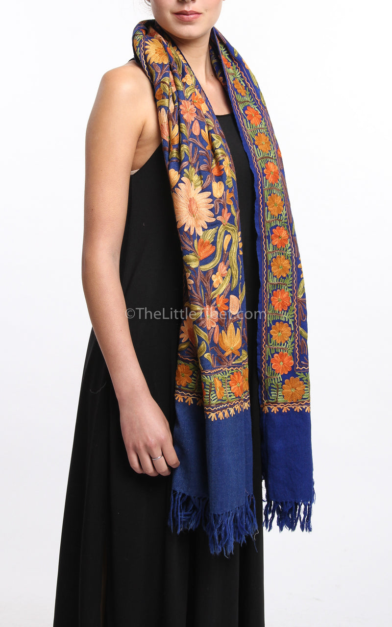 Floral embroided blue  accents Woollen Kashmiri Shawl 100% pure wool