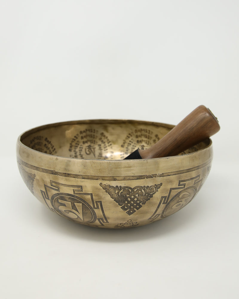 Limited Edition Tibetan Singing Bowl-Fine detailed meditation- therapy Bowl- Himalayan Sound Healing bowl-EB11