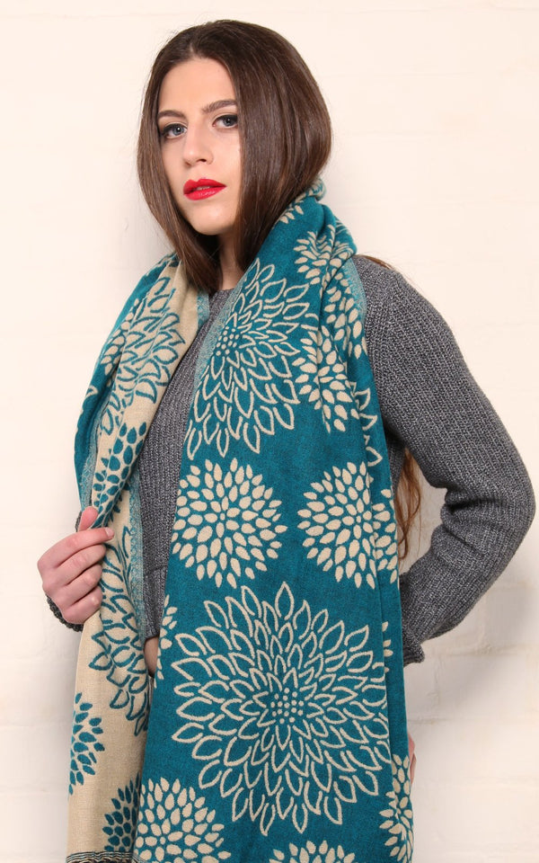 blue crysanthemum floral patterned reversible Himalayan tibet knit shawl  draped around shoulders