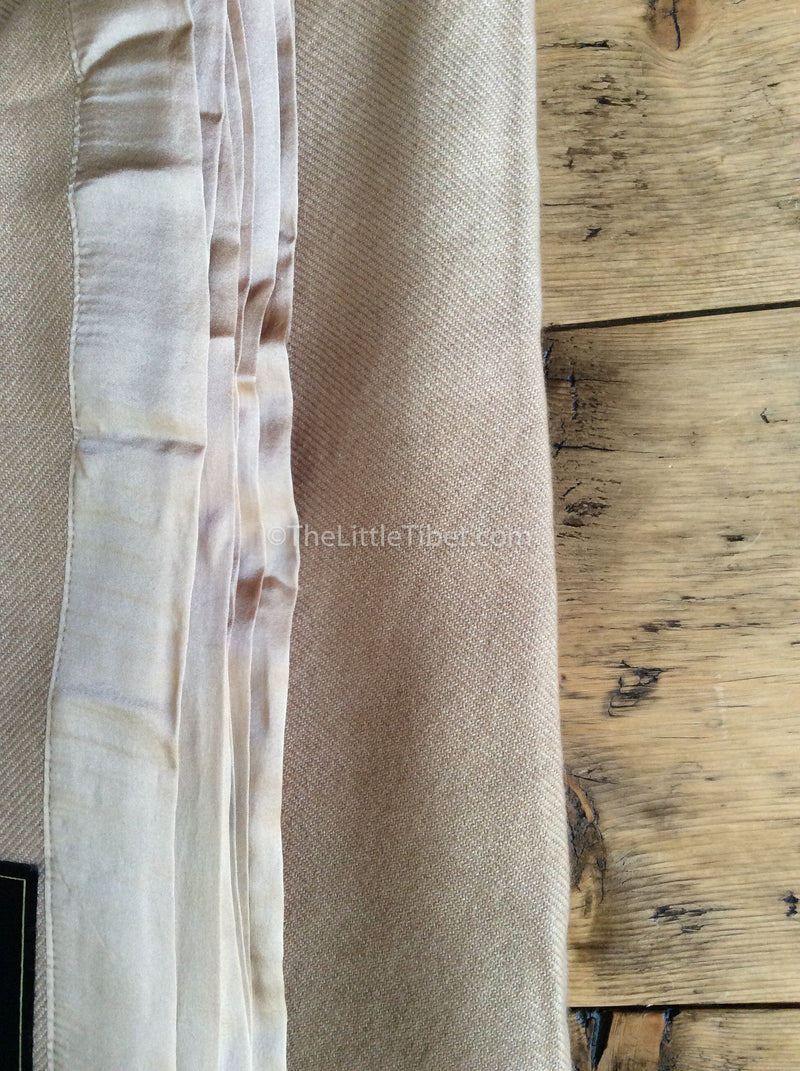 close up Camel coloured Mongolian cashmere deluxe cosy 100% pure cashmere blanket