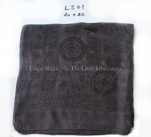 pattern close up charcoal grey neutral 100% silk scarf with square pattern