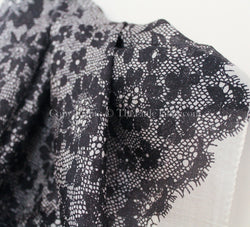 100% pure silk luxury monochrome lace scarf with floral detail
