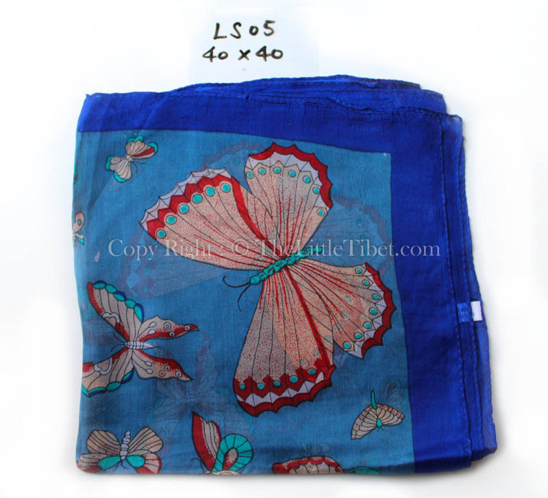 Bright blue butterfly pattern close up  100% silk square shaped scarf