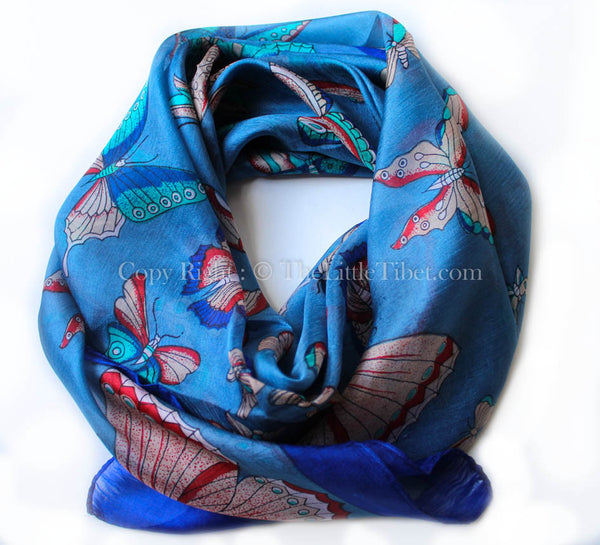 Bright blue with intricate butterfly pattern detail 100% silk square shaped scarf