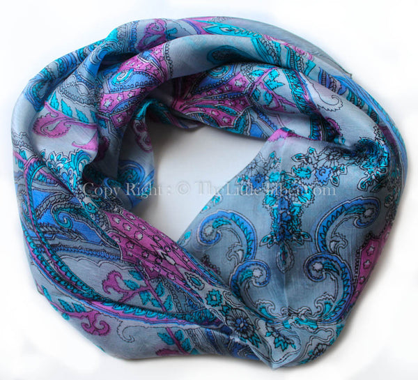 Symmetrically patterned with paisley design grey square 100% silk scarf