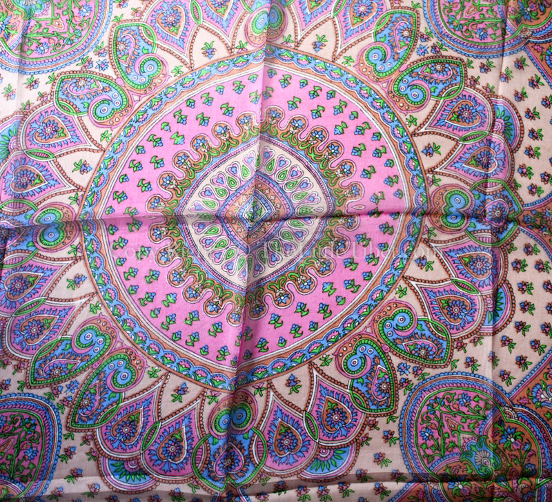 close up of bubblegum paisley pattern on Square shaped 100% silk scarf