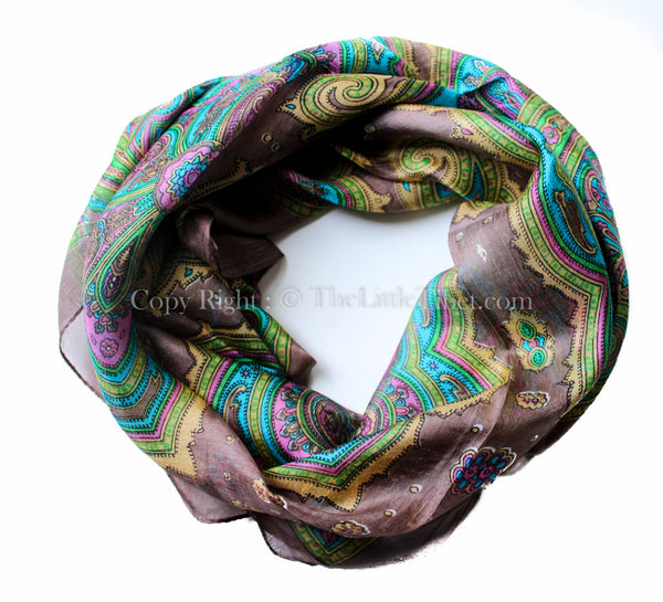 100% silk scarf brown and yellow paisley design with vibrant green accents