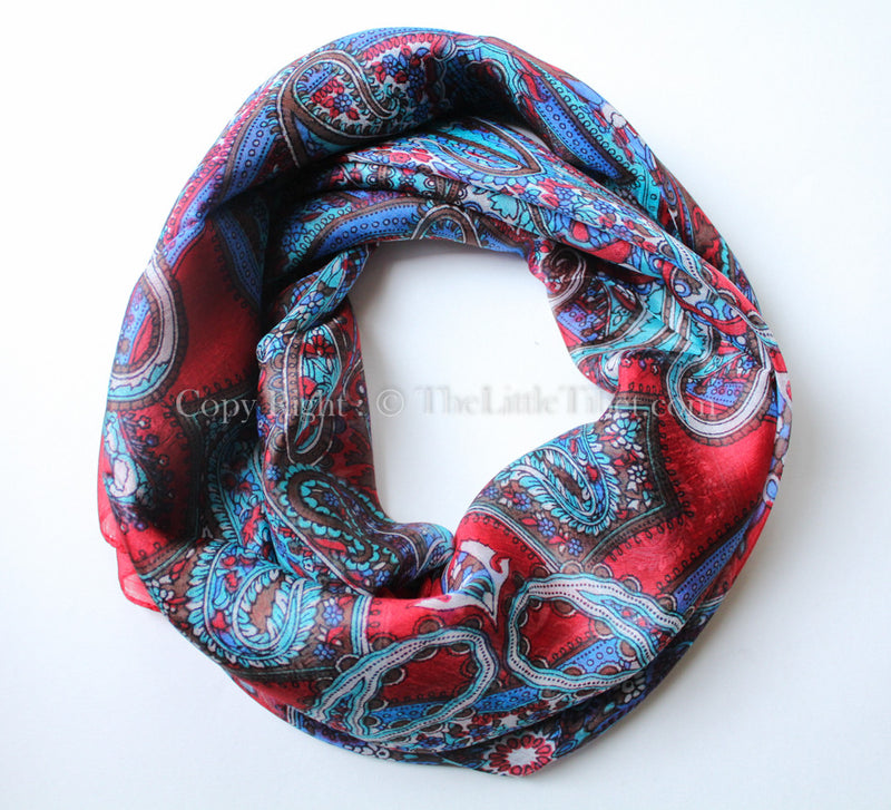 Crimson red and turquoise paisley patterned square shaped 100% silk scarf
