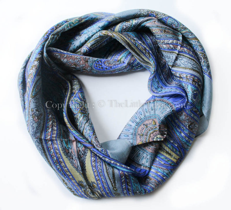 Grey & silver trending Square Silk Scarf