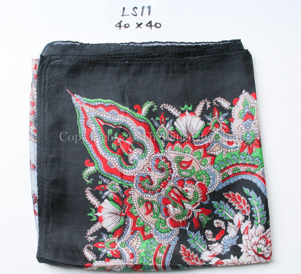 100% silk scarf Symmetrical patterned  black, green and red printed