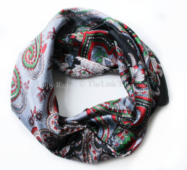 Versatile black, green and red printed pure silk scarf with symmetrical shapes