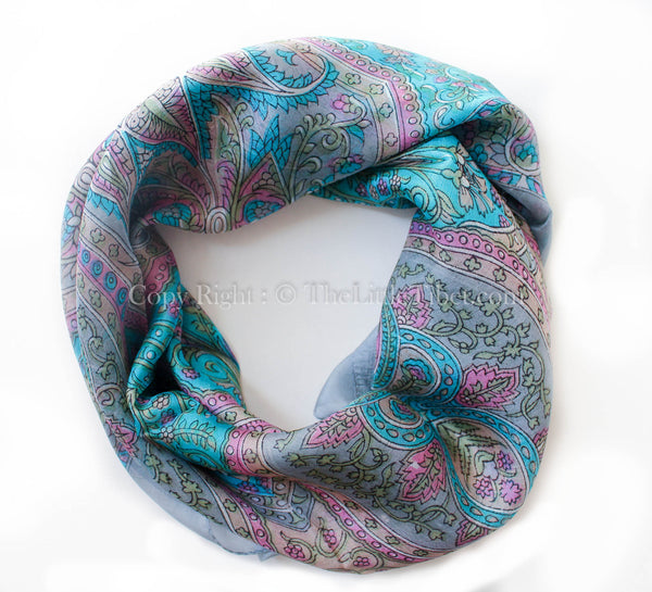 100% square silk scarf intricate pattern with turquoise  grey detail