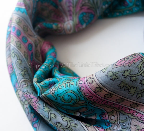 close up 100% square silk scarf intricate pattern with grey turquoise detail