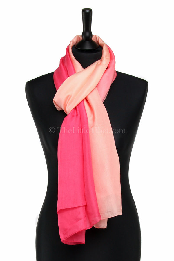 Luxury 100% silk scarf with ombre baby pink fluorescent detail styled around neck