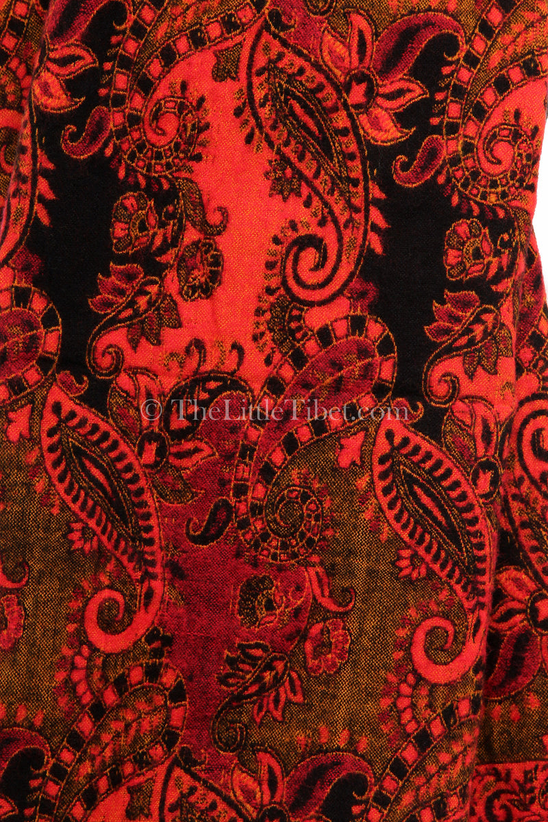 pattern close up Burnt orange  paisley design reversible himalayan tibet shawl