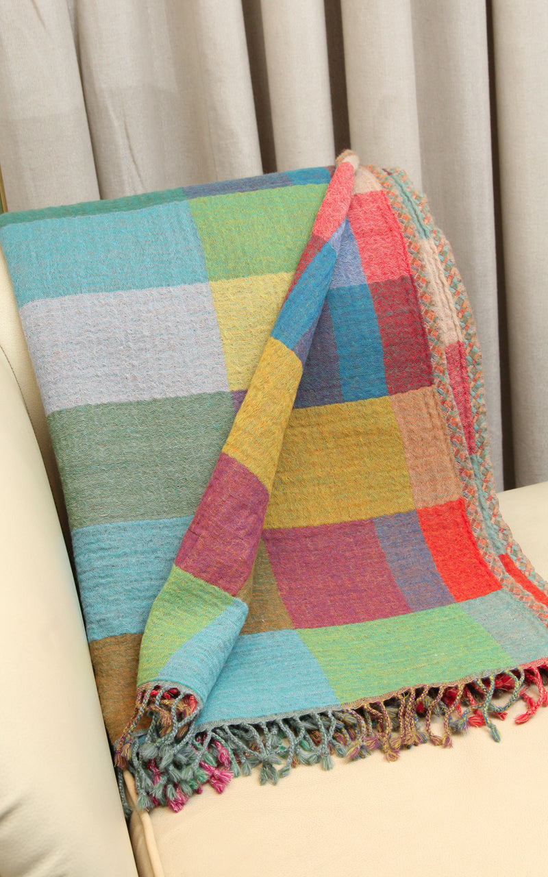 100% lambswool multicoloured check reversible boiled wool blanket quintessential