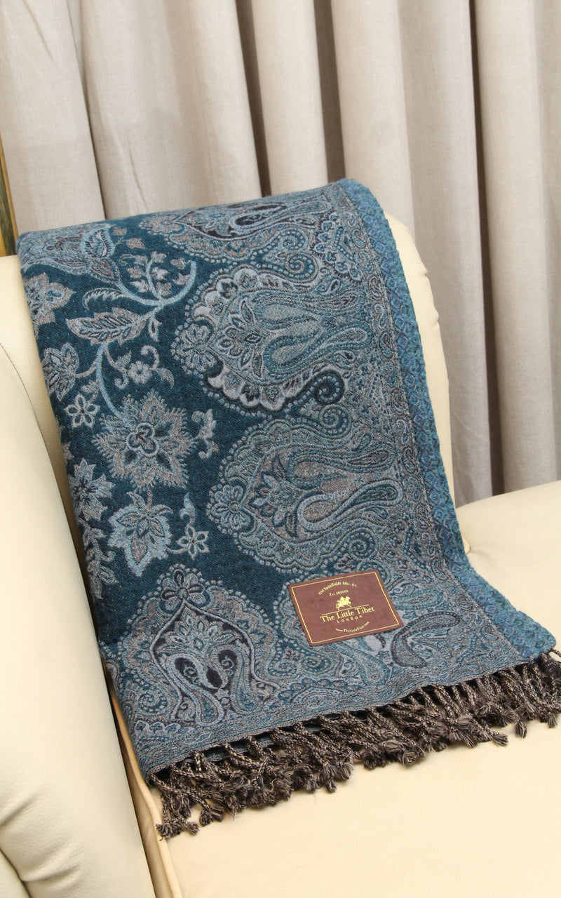 100% pure lambswool dark blue light blue accents floral reversible  boiled wool blanket  close up
