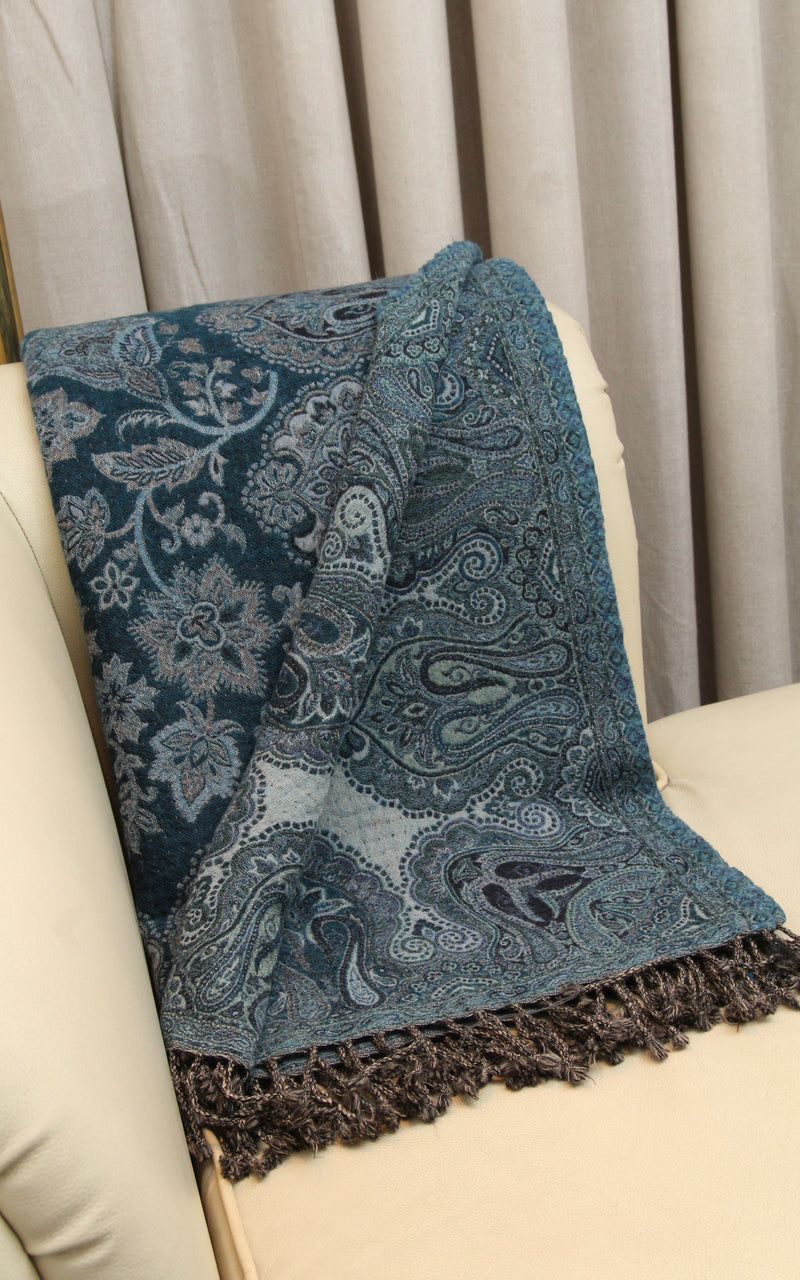 100% pure lambswool dark blue light blue accents floral reversible  boiled wool blanket  free uk shipping