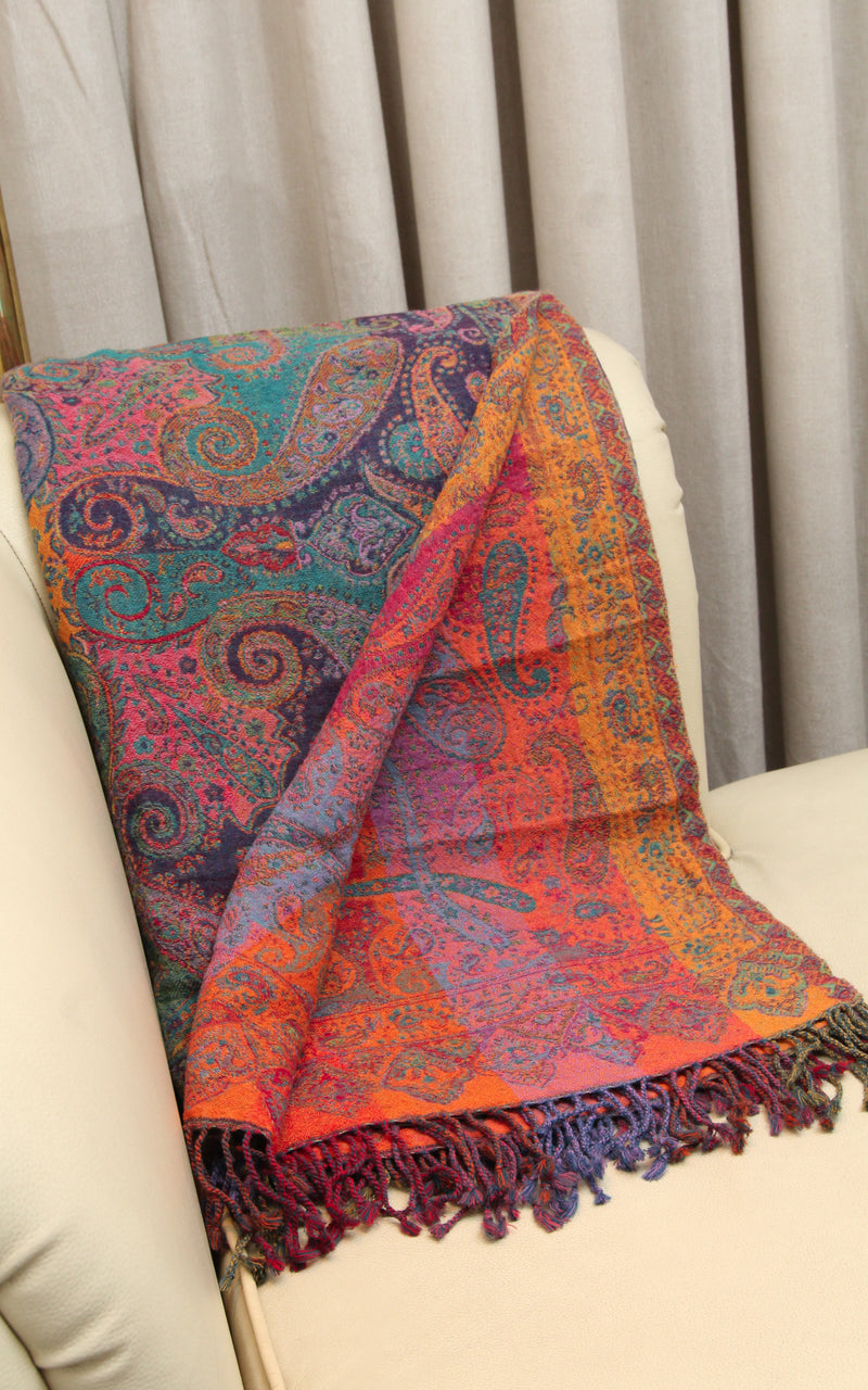 100% lambswool purple paisley warm orange teal accents reversible boiled wool blanket free uk shipping