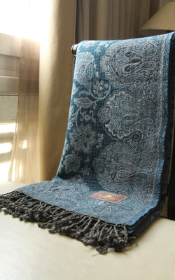 100% pure lambswool dark blue light blue accents floral  boiled wool blanket