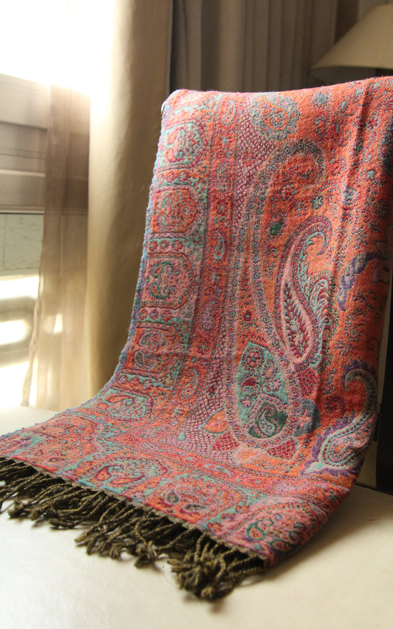 100% lambswool Green paisley burnt orange accents lightweight  reversible boiled wool blanket