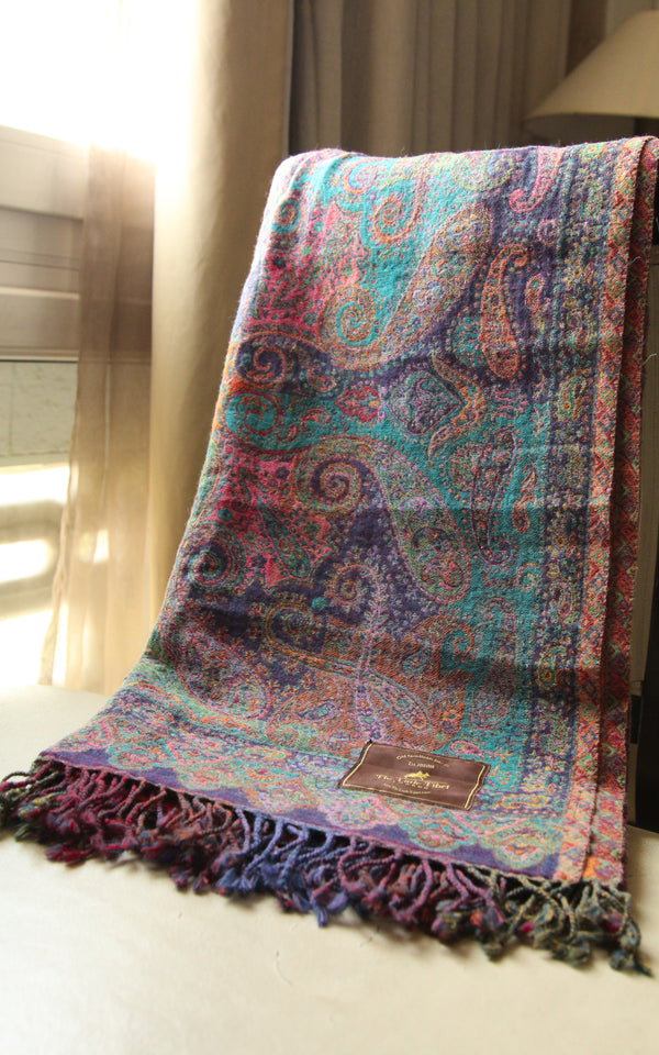 100% lambswool purple paisley warm orange teal accents reversible boiled wool blanket