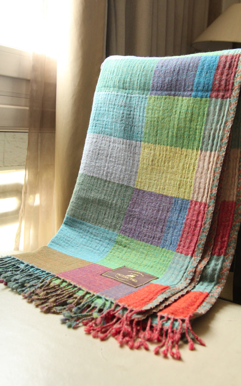 100% lambswool multicoloured check reversible boiled wool blanket with tassels
