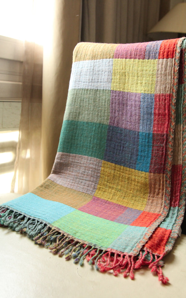 Happy English Check Boiled Wool Blanket-BW132, The Little Tibet