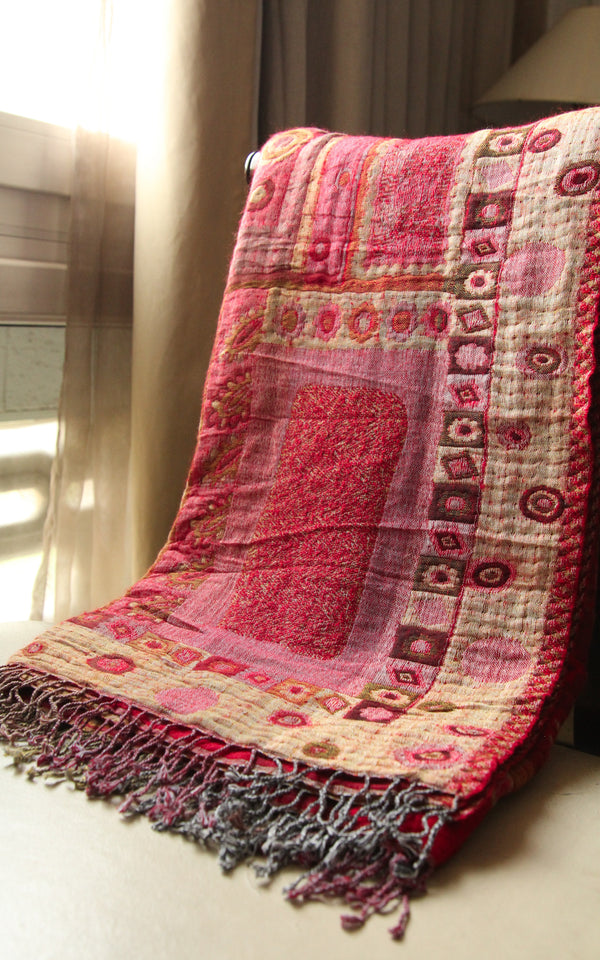 Aztec Sangria Red Boiled Wool Blanket-BW133, The Little Tibet