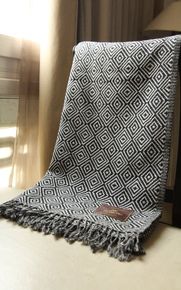 Monochrome Diamond Boiled Wool Blanket -BW108, The Little Tibet