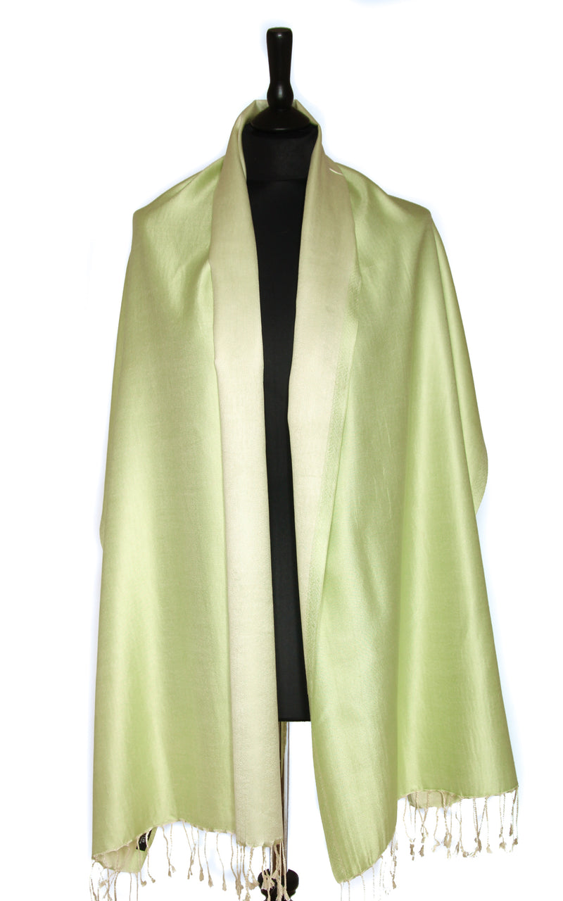 Luxury 100% pure silk  lime  green reversible pashmina draped around shoulders