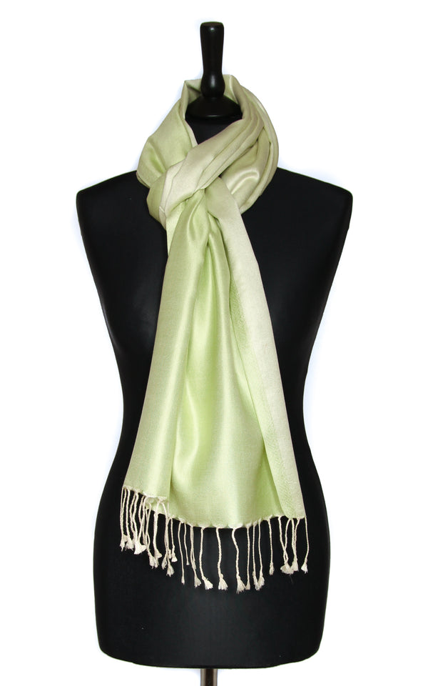 Luxury 100% pure silk  lime  green reversible pashmina with tassels