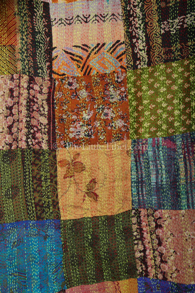 close up Patch design vibrant handmade kantha scarf 100% raw silk
