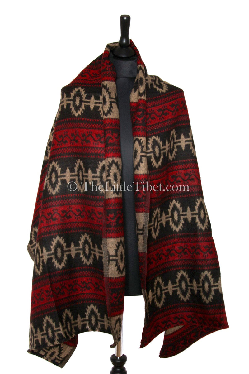 Cozy cream red  blanket  scarf tibet shawl  geometric design draped around shoulders