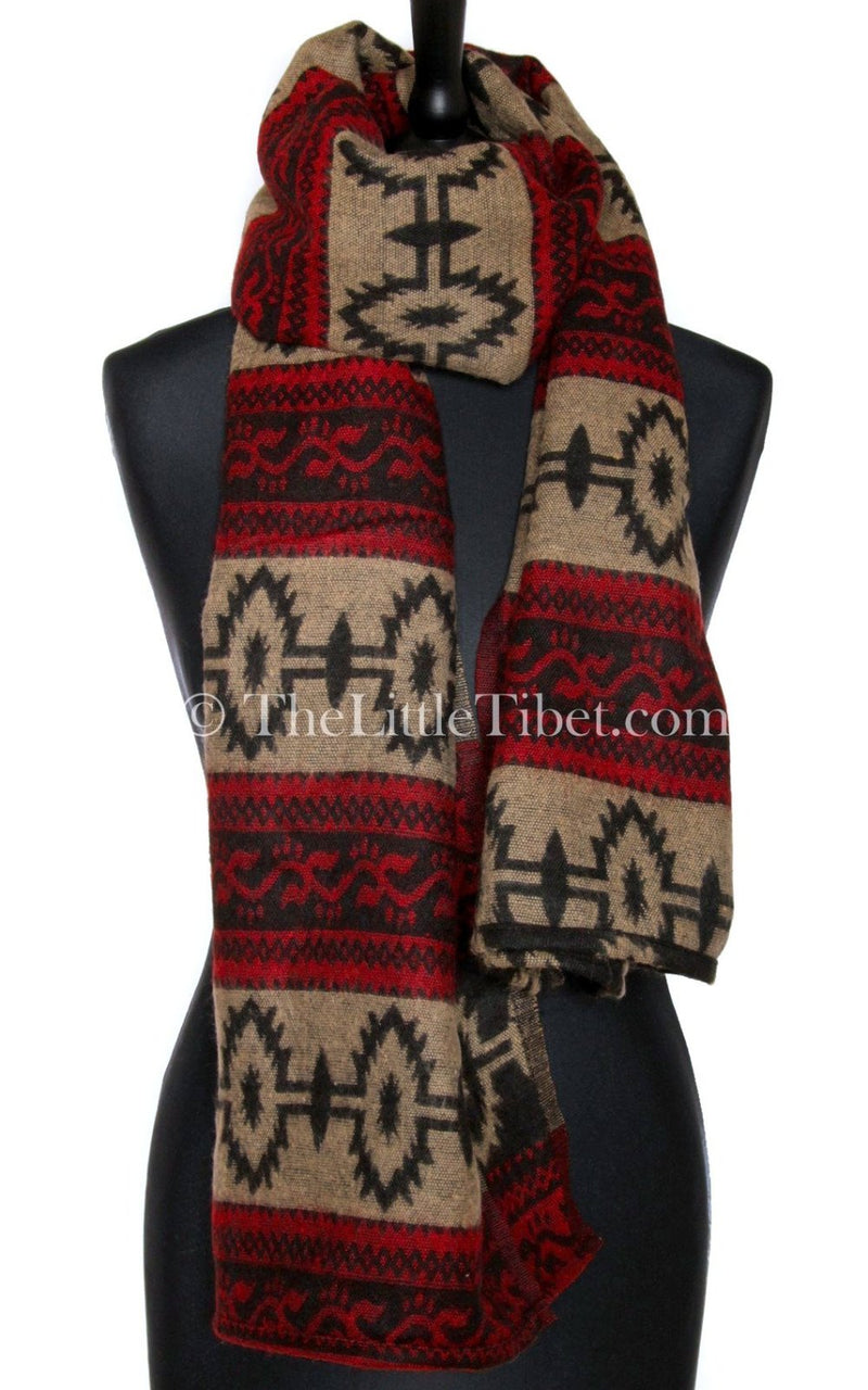 Cosy cream red  blanket  scarf tibet shawl  contemporary design styled as a chunky knit