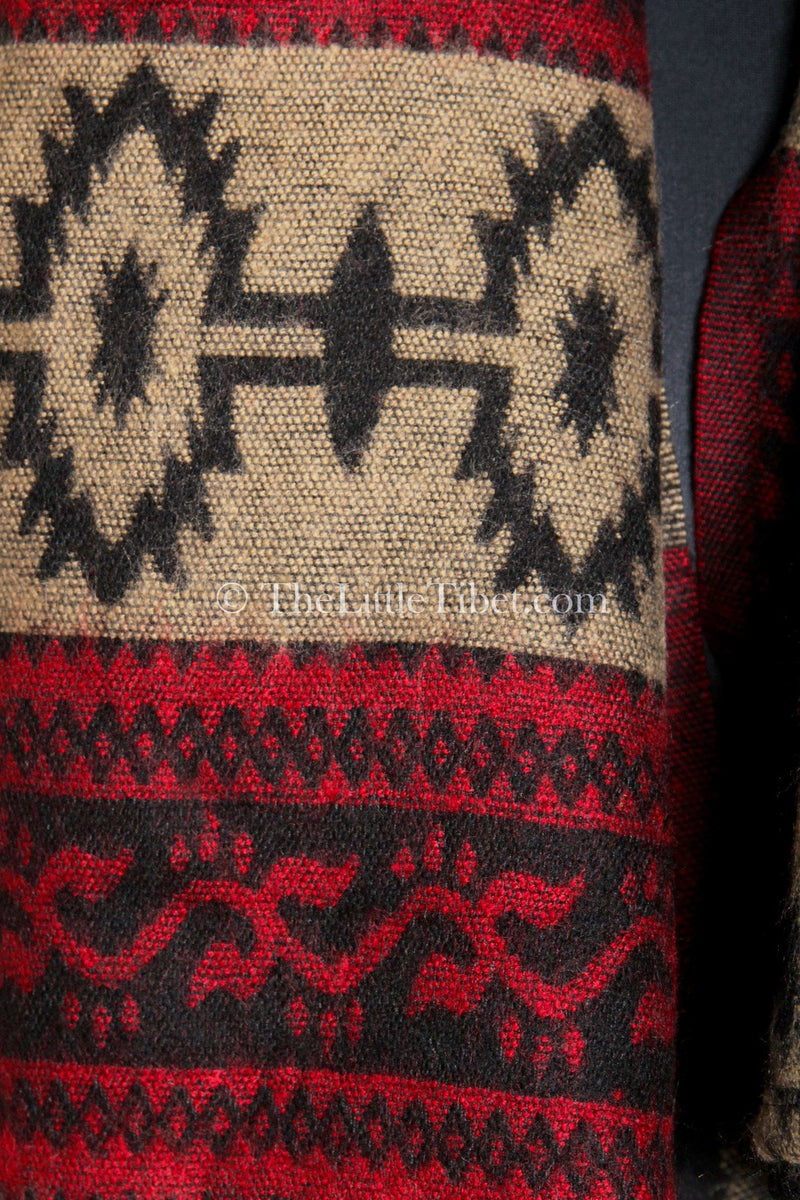 close up Cozy cream red  blanket  scarf tibet shawl  contemporary geometric design
