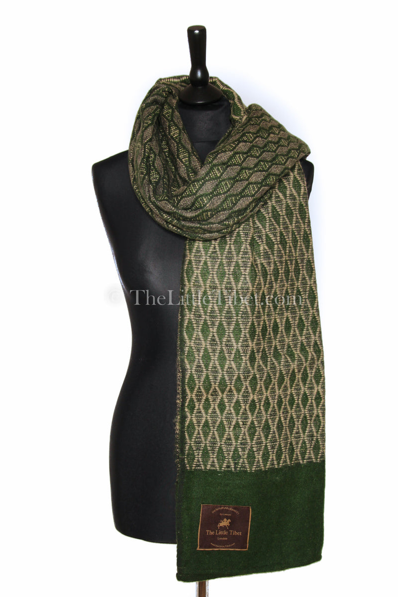 Dark green Diamond patterned  Himalayan   Tibet shawl styled around shoulders