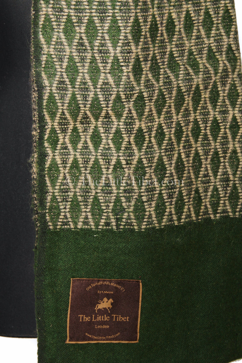 Close up dark green Diamond patterned  Himalayan   Tibet shawl