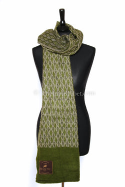 Olive green Diamond patterned  baroque  Himalayan   Tibet shawl  draped around shoulders