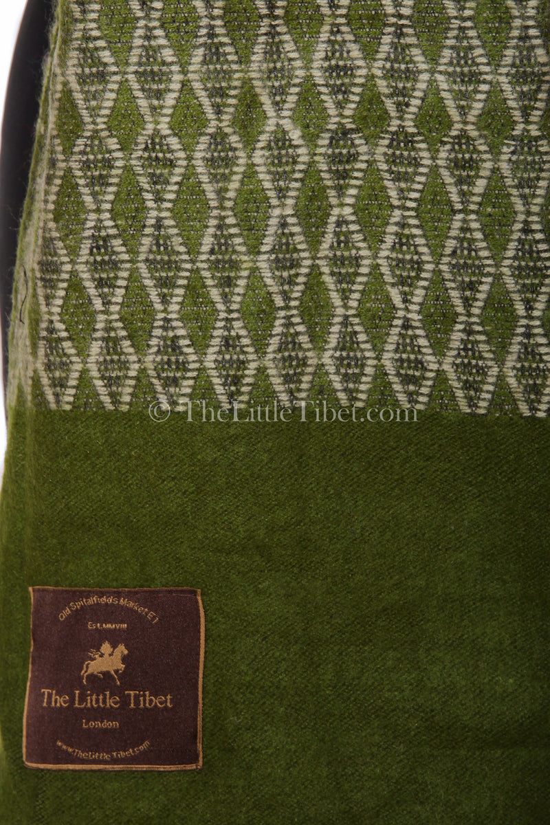Close up olive green Diamond patterned  baroque design Himalayan   Tibet shawl