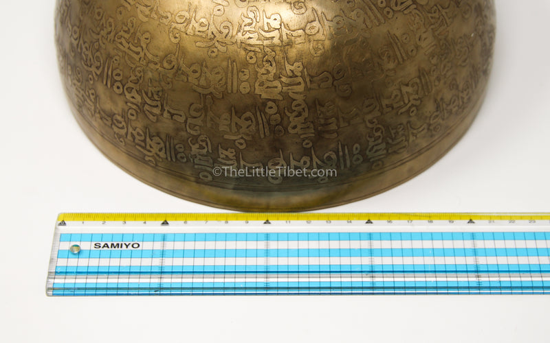 Om Mani Pad Me Hum Hand hammered alloy gold tibetan singing bowl close up measurement