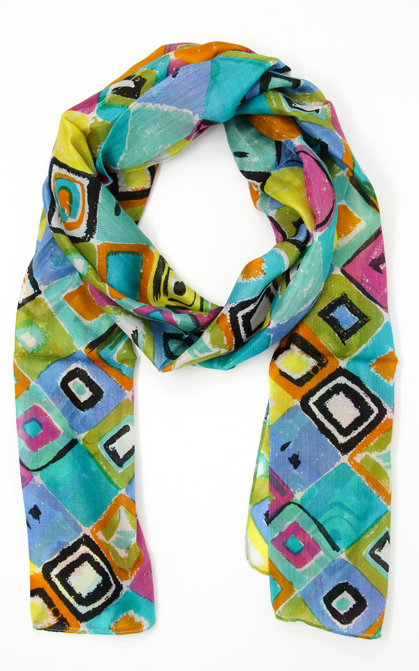 Geometrical patterned summer pure silk scarf with blue bright yellow and green accents
