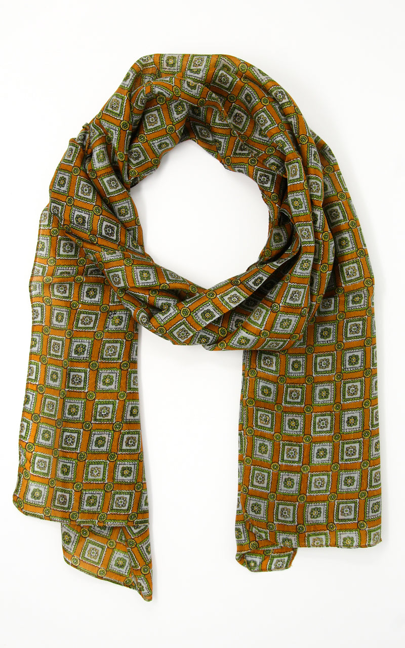 lightweight dark orange and green patterned pure silk scarf