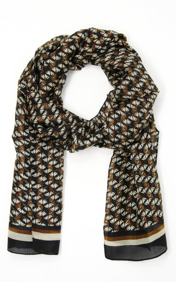 Classic neutral brown, black and beige pure silk scarf with contemporary patterns