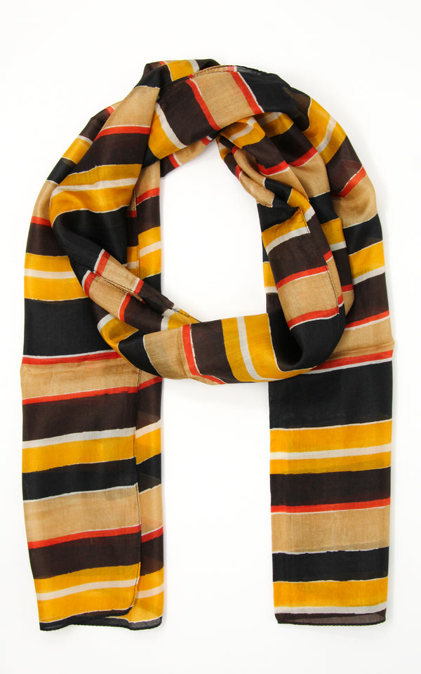 Distinctive patterned silk scarf with yellow, black, red and beige accents